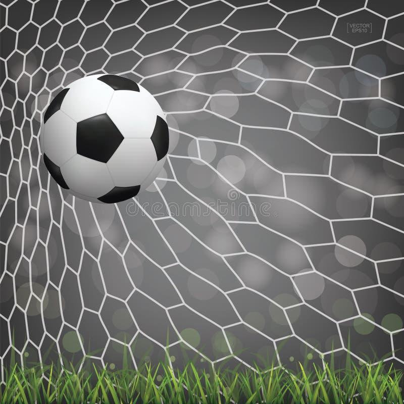 Fotbollfotbollboll i fotbollmål med ljus suddig bokehbakgrund stock illustrationer