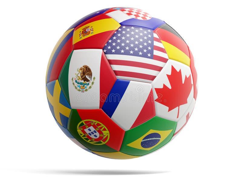 Fotbollfotbollboll med flaggor av USA Kanada Mexico och olika andra 3d-illustration royaltyfri illustrationer