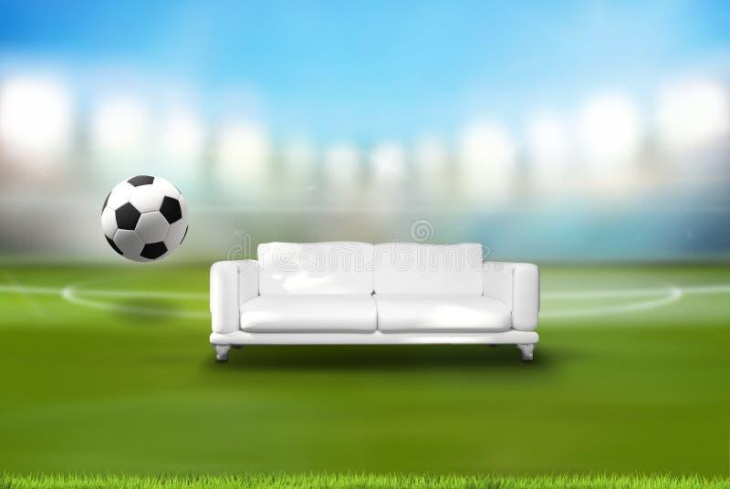 Fotbollfotbollboll med soffan i tolkning för stadion 3d vektor illustrationer
