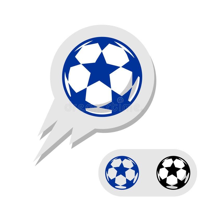 Fotbollfotbollboll med stjärnalogo stock illustrationer
