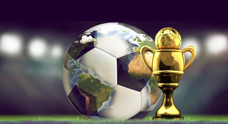 Fotbollfotbollboll och guld- kopp Världsstadionbegrepp 3d vektor illustrationer