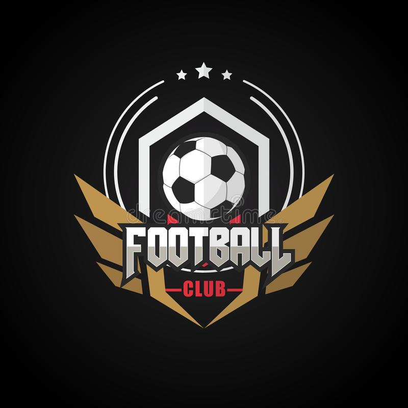 Fotbollfotbollemblem Logo Design Templates   Sport Team Identity Vector Illustrations som isoleras på svart bakgrund royaltyfri illustrationer