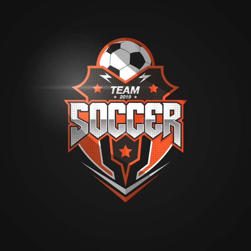 Fotbollfotbollemblem Logo Design Templates | Sport Team Identity Vector Illustrations som isoleras på svart bakgrund vektor illustrationer