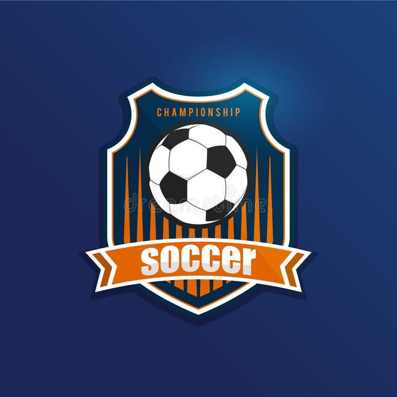 Fotbollfotbollemblem Logo Design Templates | Sport Team Identity Vector Illustrations som isoleras på vit bakgrund royaltyfri illustrationer