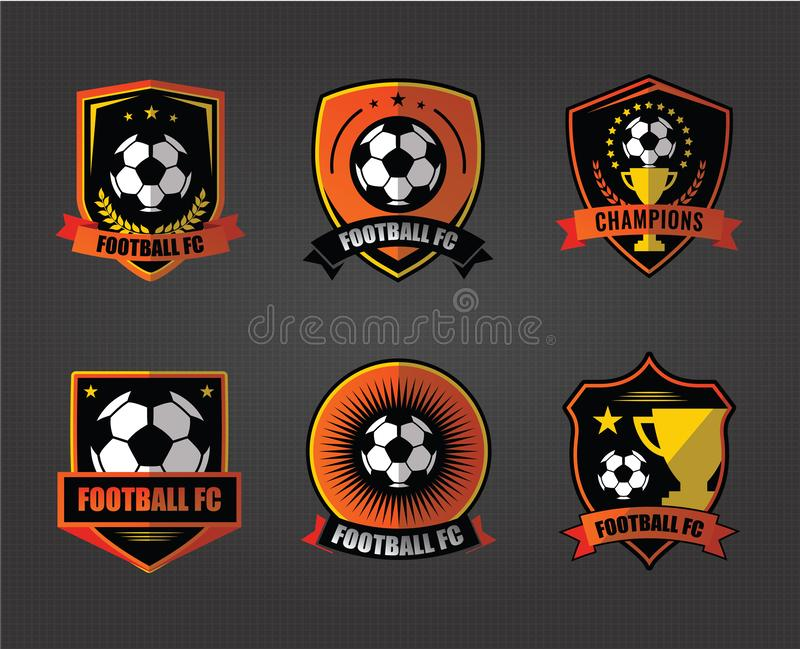 Fotbollfotbollemblem Logo Design Templates | Sport Team Identity Vector Illustrations som isoleras p? bl? bakgrund royaltyfri illustrationer