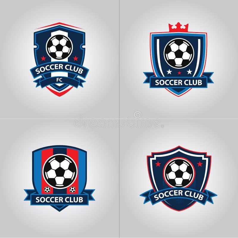 Fotbollfotbollemblem Logo Design Templates | Sport Team Identity Vector Illustrations som isoleras p? bl? bakgrund stock illustrationer