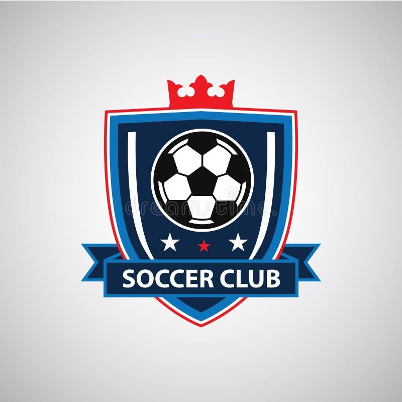 Fotbollfotbollemblem Logo Design Templates | Sport Team Identity Vector Illustrations som isoleras p? bl? bakgrund vektor illustrationer