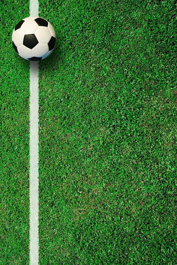 Fotbollfotbollfält på stadion royaltyfria bilder