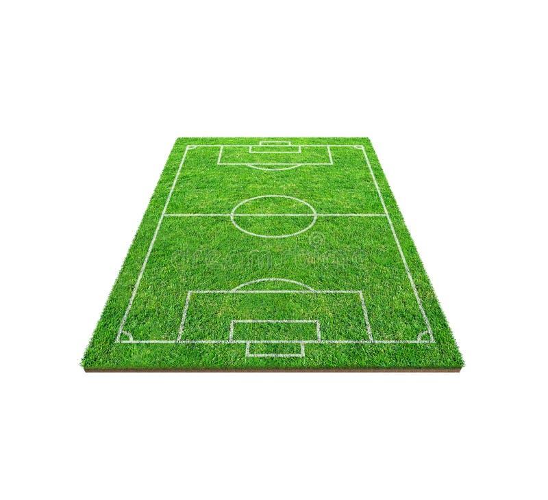 Fotbollfotbollfält som isoleras på vit bakgrund med urklippbanan Bakgrund för fotbollstadion med linjen modell och av gräsplan arkivbild
