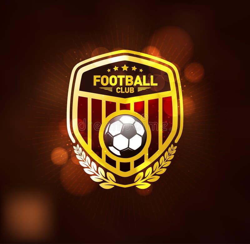 Fotbollfotbollklubba Logo Design Template royaltyfri illustrationer