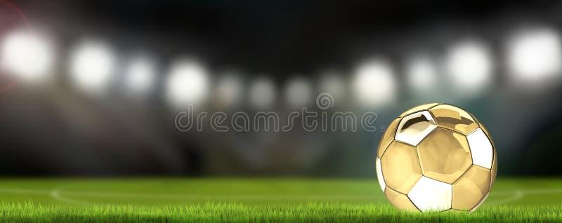 Fotbollfotbollsarena och guld- fotboll klumpa ihop sig tolkningen 3d royaltyfri illustrationer