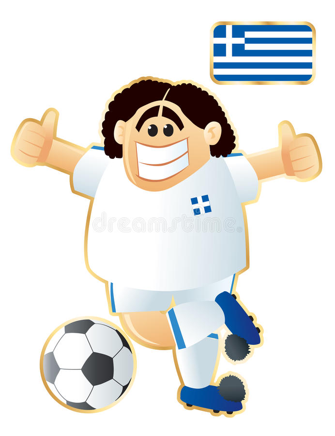 fotbollgreece maskot royaltyfri illustrationer