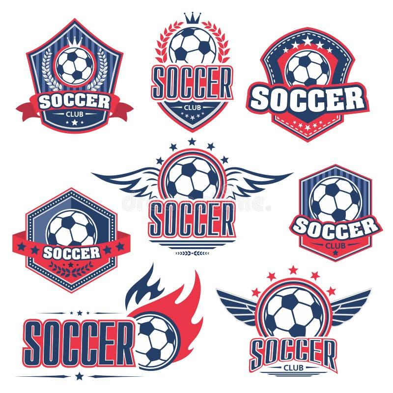 Fotbollklubba, emblem för fotbollsportlek med bollen stock illustrationer