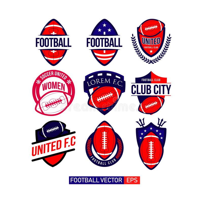 Fotbollklubban ställde in Logo Vector Template Design Illustration stock illustrationer