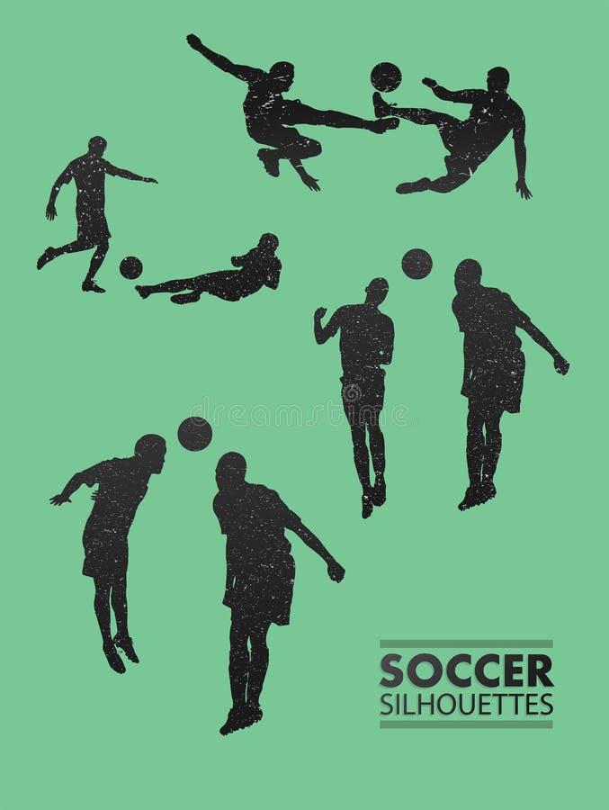 Fotbollkonturer i grön vektor royaltyfri illustrationer