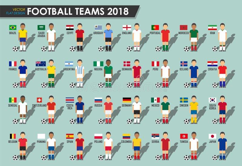 Fotbollkoppen teams 2018 Uppsättning av fotbollsspelare med ärmlös tröjalikformign och nationsflaggor Vektor för internationell v vektor illustrationer