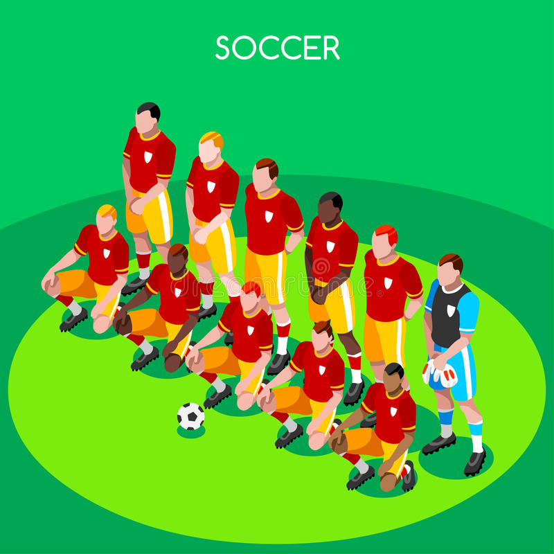 Fotbolllag 2016 illustration för vektor för sommarlekar 3D isometrisk vektor illustrationer