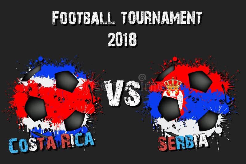 Fotbolllek Costa Rica vs Serbien royaltyfri illustrationer