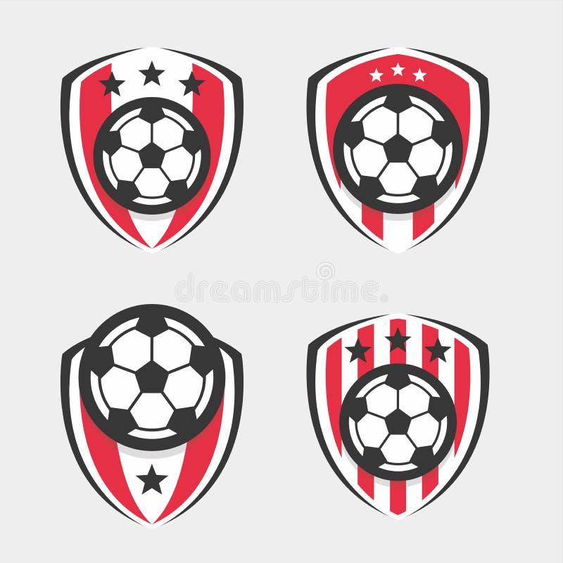 Fotbolllogo eller uppsättning för emblem för fotbollklubbatecken royaltyfri illustrationer