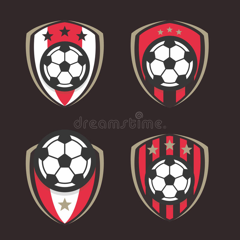 Fotbolllogo eller uppsättning för emblem för fotbollklubbatecken stock illustrationer