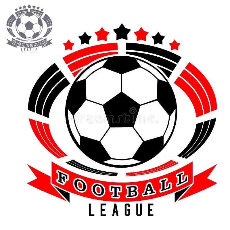 Fotbolllogo med bollen på stadion- eller arenabakgrund royaltyfri illustrationer