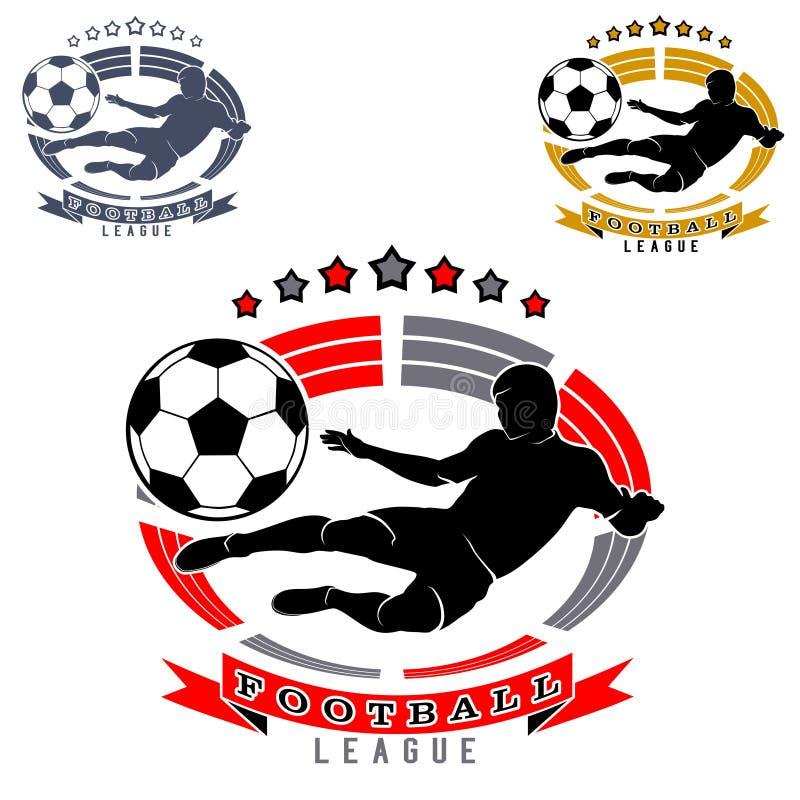 Fotbolllogo med den fotbollsspelarekonturn och bollen på stadion- eller arenabakgrund royaltyfri illustrationer
