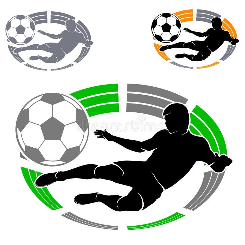 Fotbolllogo med den fotbollsspelarekonturn och bollen på stadion- eller arenabakgrund stock illustrationer