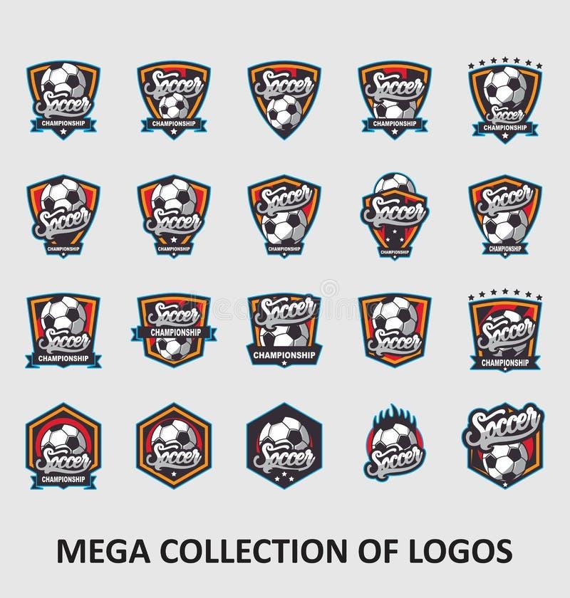 Fotbolllogoer Fotbolllogoer Amerika logo, klassisk logo Ställ in av 20 fotbollemblem för din affär Mallar för modern design för d royaltyfri illustrationer