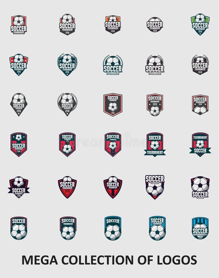Fotbolllogoer Fotbolllogoer Amerika logo, klassisk logo Ställ in av 30 fotbollemblem för din affär Mallar för modern design för y royaltyfri illustrationer