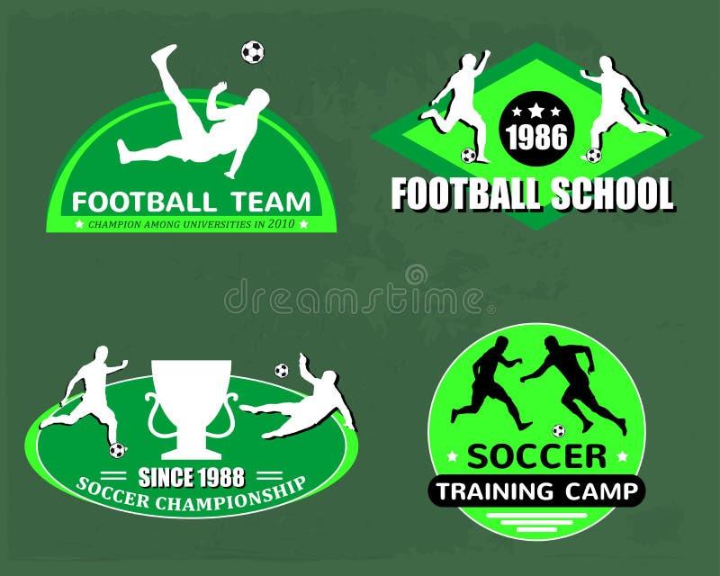 Fotbolllogouppsättning royaltyfri illustrationer