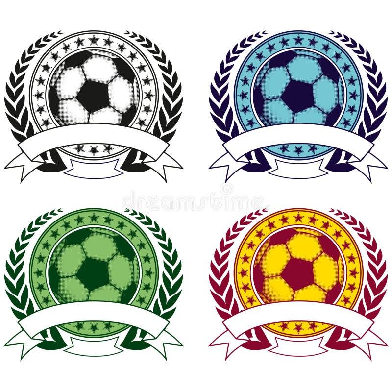 Fotbolllogouppsättning stock illustrationer