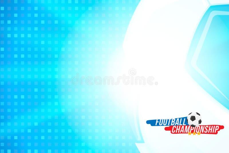 Fotbollmästerskap Banermallhorisontalformat med en fotbollboll och text på en bakgrund med en ljus ljus effekt vektor illustrationer