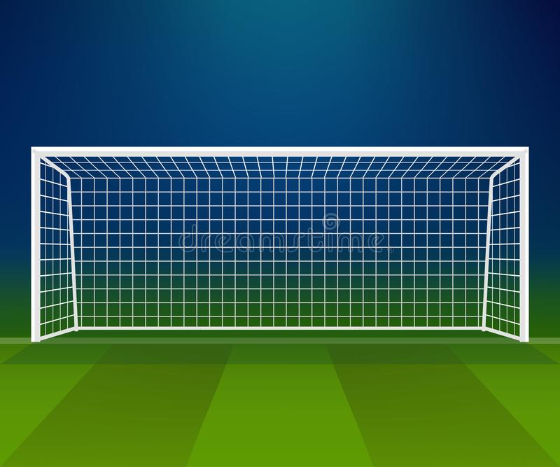 Fotbollmål, fotbollmålstolpe med netto på en stadionbakgrund vektor illustrationer