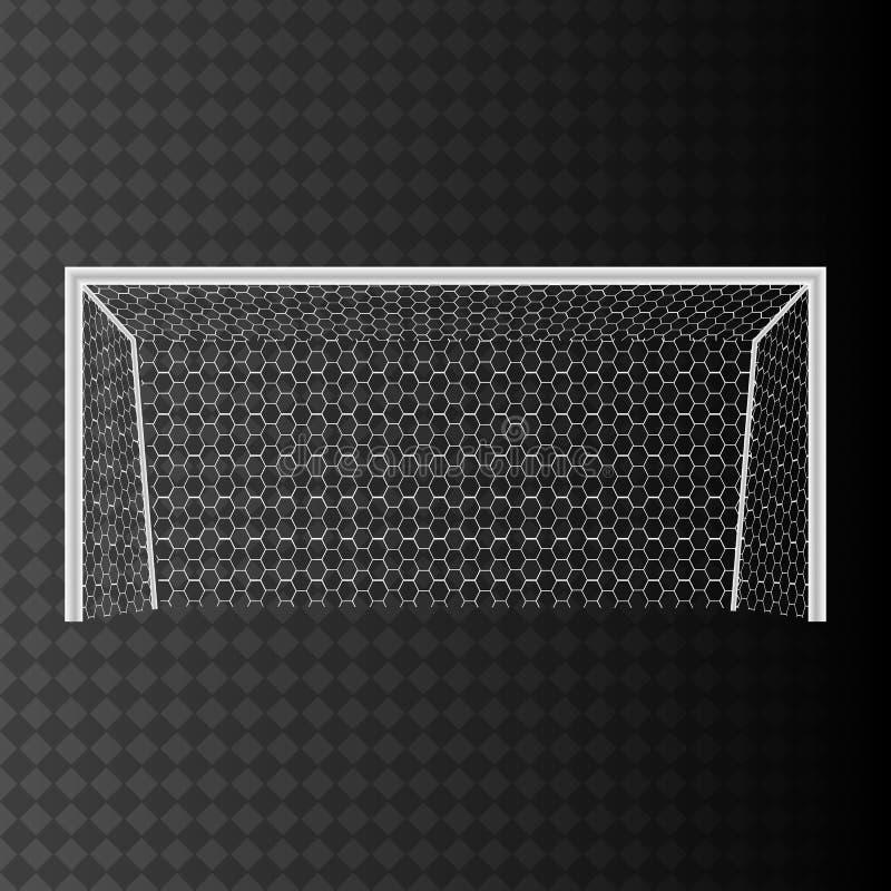 Fotbollmål med netto på en genomskinlig bakgrund vektor illustrationer