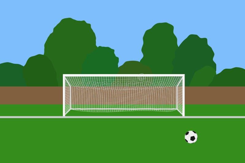 Fotbollmål och boll på fotbollsarena Stolpar för mål för anslutningfotboll med netto anseende på ett fält för utomhus- sportar royaltyfri illustrationer