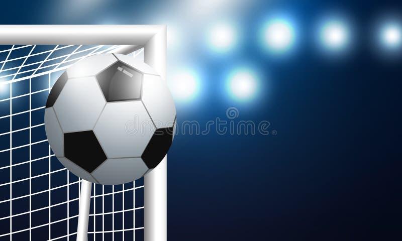 Fotbollmål och fotboll med strålkastarebakgrund i stadion royaltyfri illustrationer