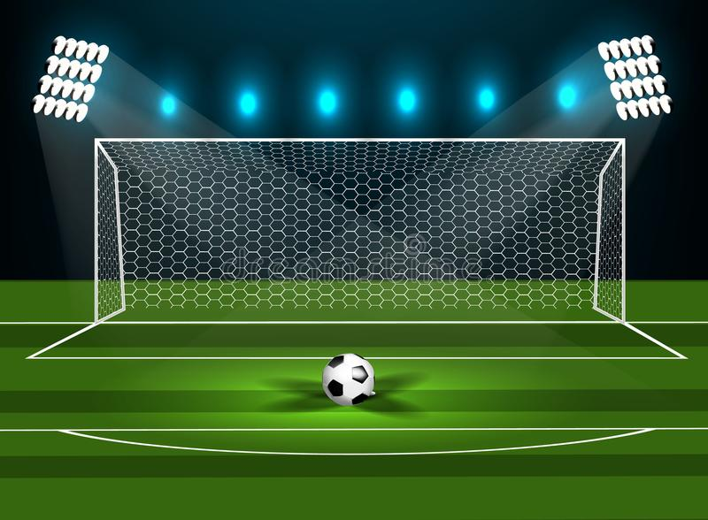 Fotbollmål på ett grönt fält med en fotboll vektor illustrationer