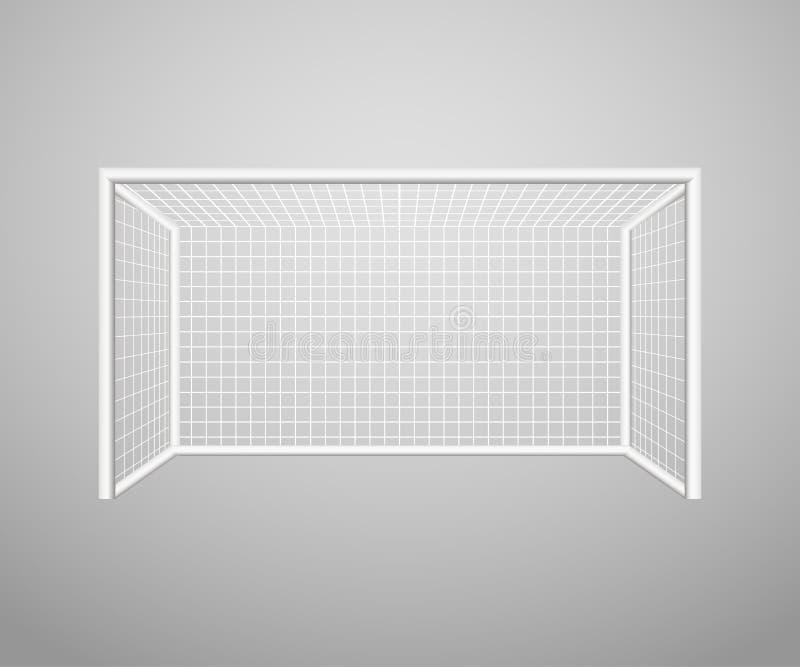 Fotbollmål som isoleras på en grå bakgrund Realistiskt fotbollfotbollmål den färga utrustningillustrationen skidar sportvatten oc royaltyfri illustrationer