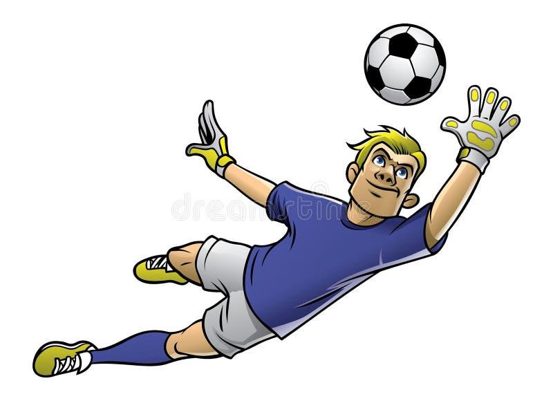 Fotbollmålvakt i handling royaltyfri illustrationer