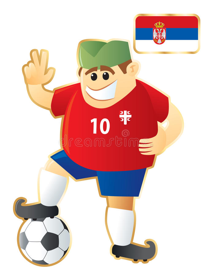 fotbollmaskot serbia royaltyfri illustrationer