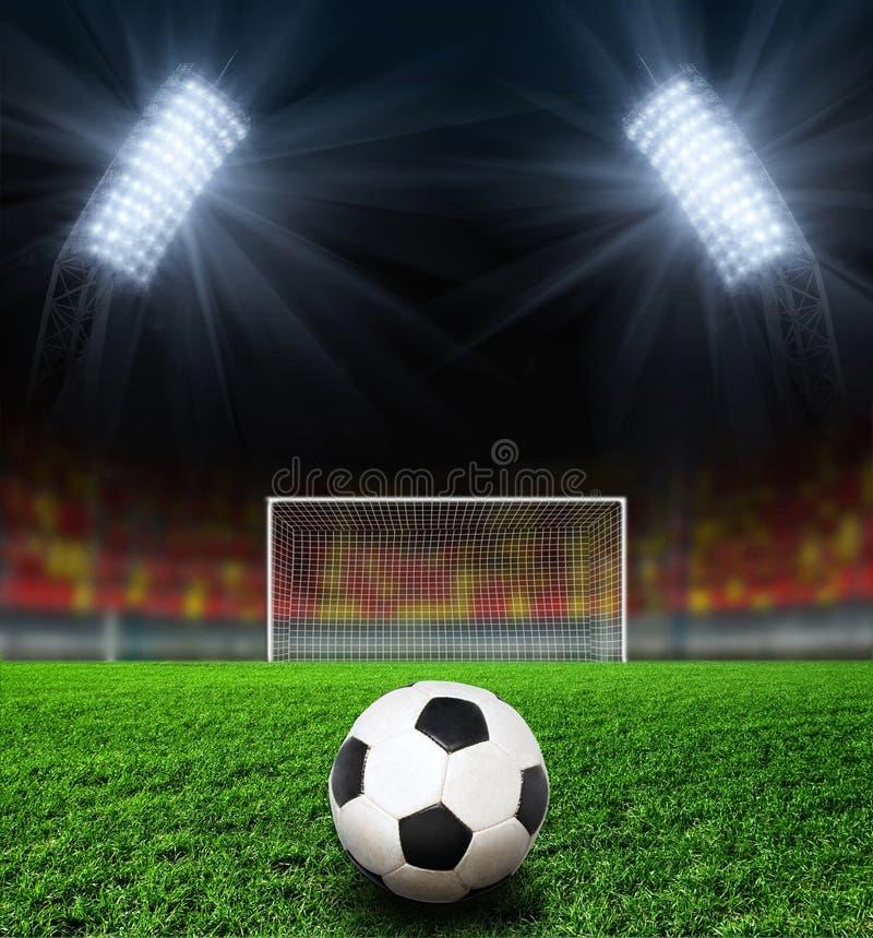 fotbollnattstadion fotografering för bildbyråer