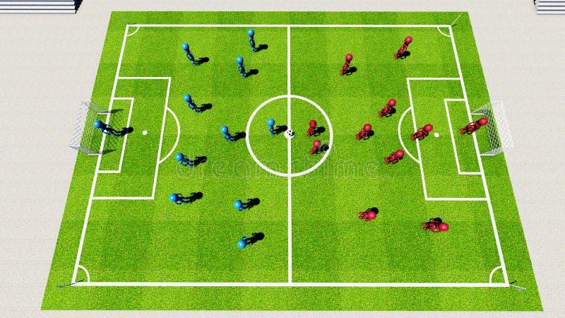 Fotbollsarena stock illustrationer