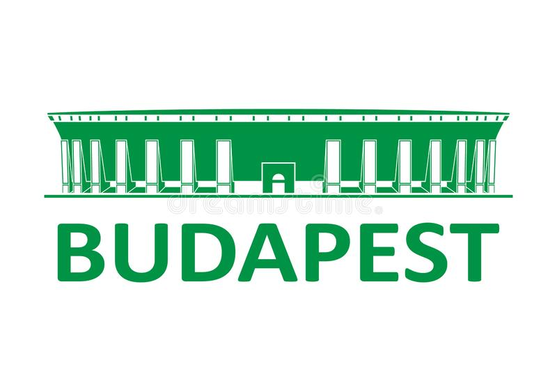 Fotbollsarena budapest stock illustrationer