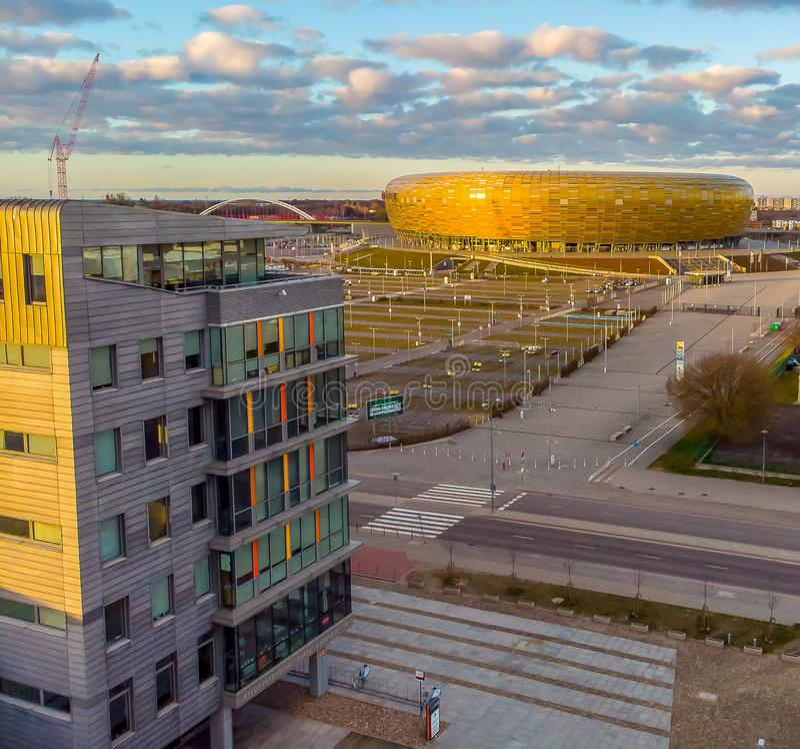 Fotbollsarena i Gdansk royaltyfri fotografi