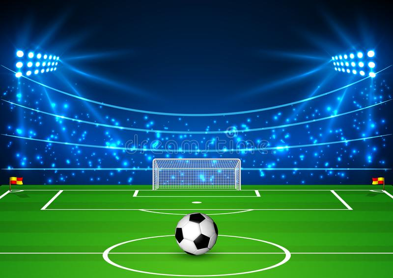 Fotbollsarena med en boll Fotbollfält i ljuset av strålkastare Fotbollvärldscup också vektor för coreldrawillustration stock illustrationer