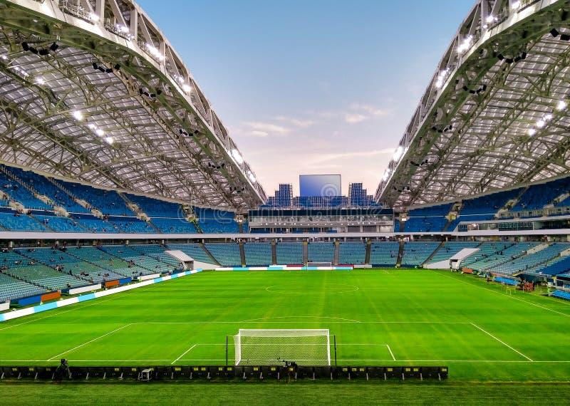 Fotbollsarena med fotbollgraden arkivbild