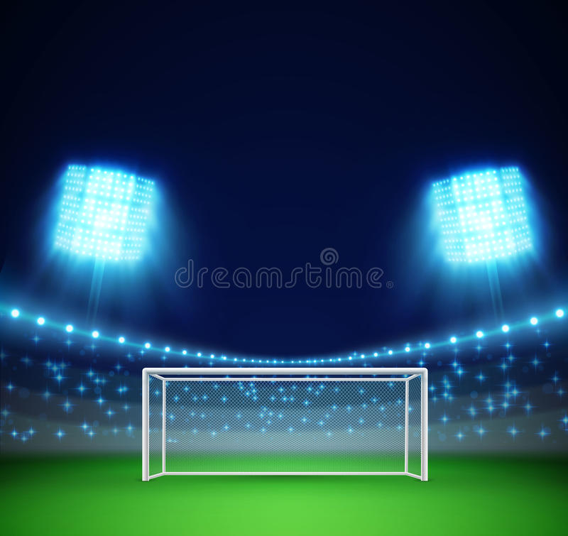 Fotbollsarena med ljus och tribun royaltyfri illustrationer