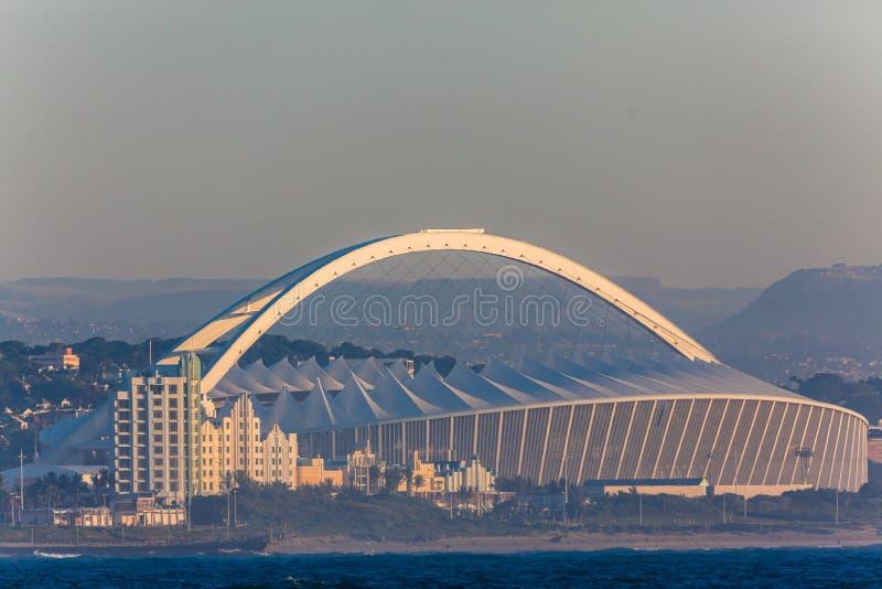 Fotbollsarena Moses Mabhida Ocean Durban royaltyfri foto