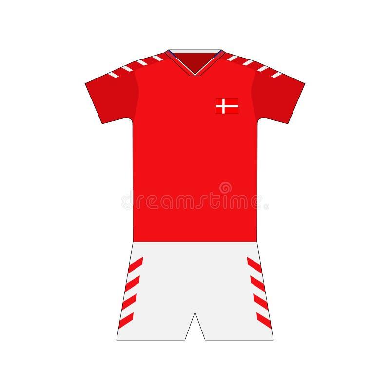 Fotbollsats denmark royaltyfri illustrationer