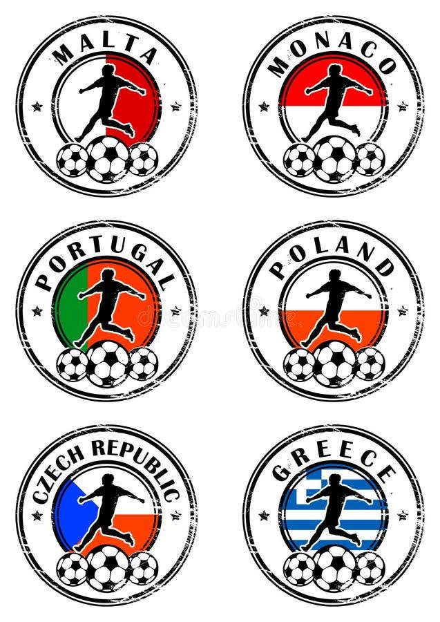 fotbollsetstämplar vektor illustrationer